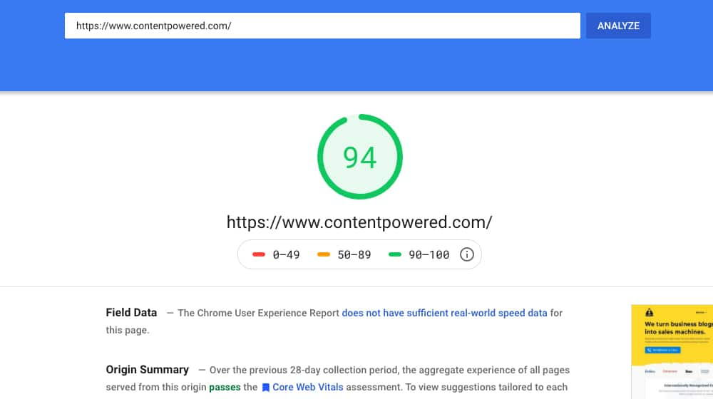 Content Powered PageSpeed Insights Score