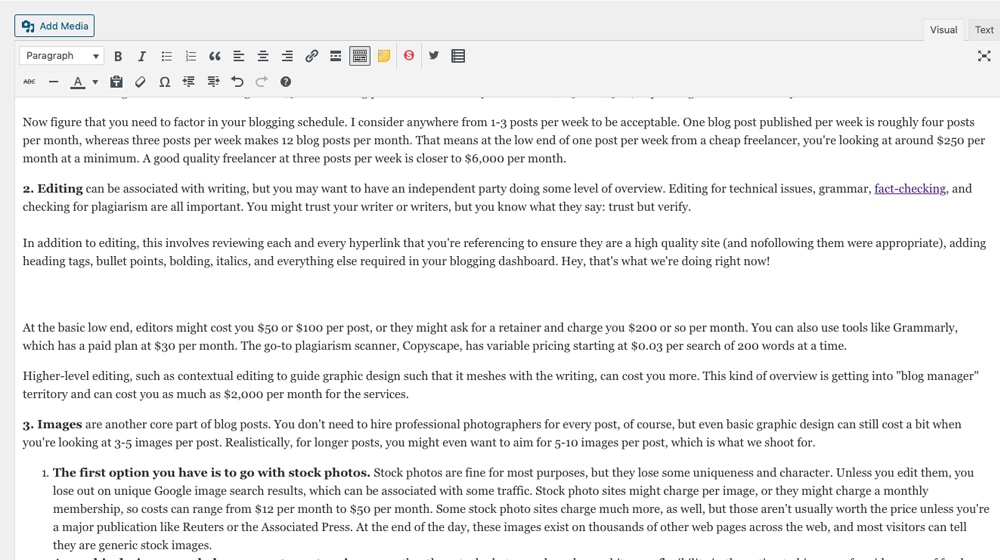 Editing Blog Post in WordPress