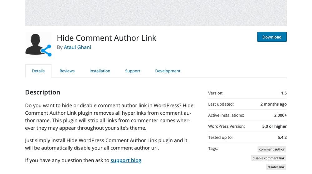 Hide Author Comment Link