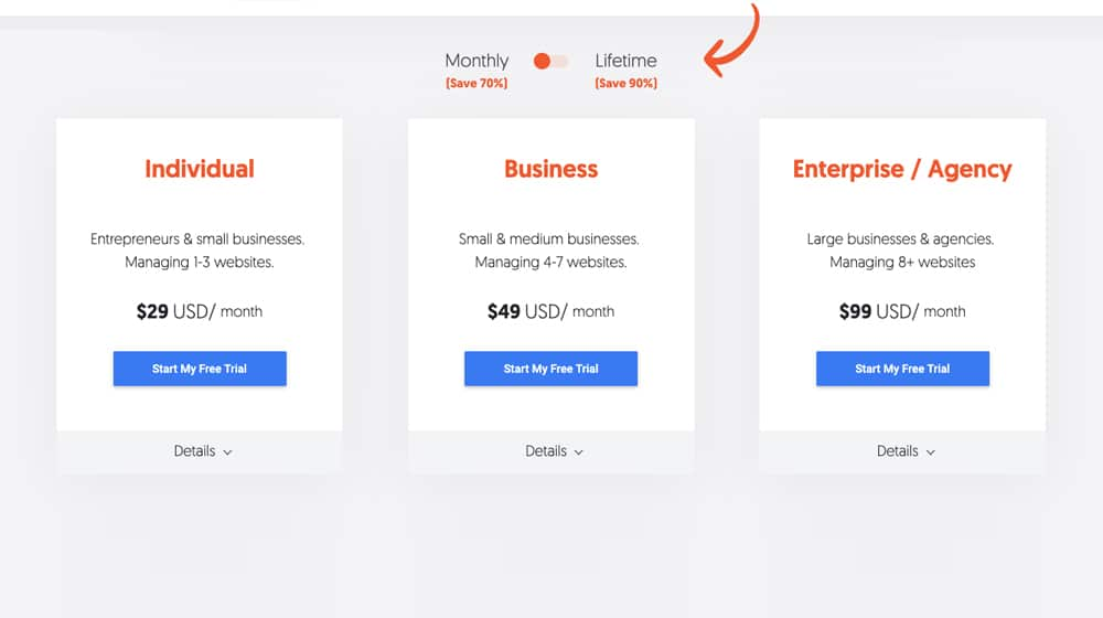 Ubersuggest Pricing Packages