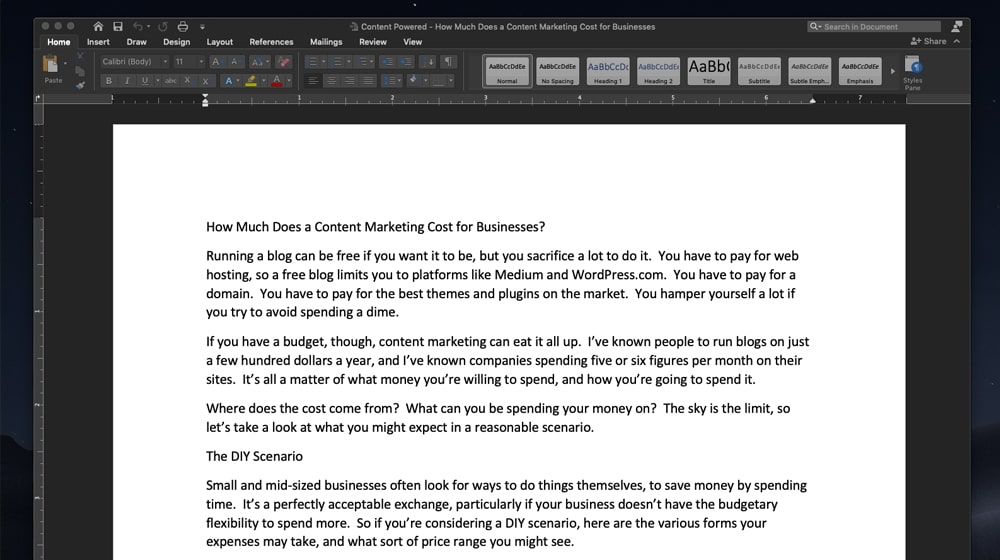 Writing a Blog Post in Microsoft Word
