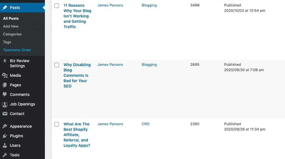 Auditing Blog Posts