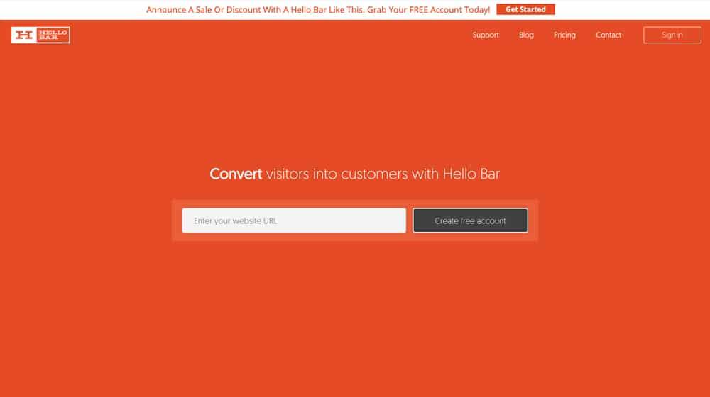 Hellobar Homepage