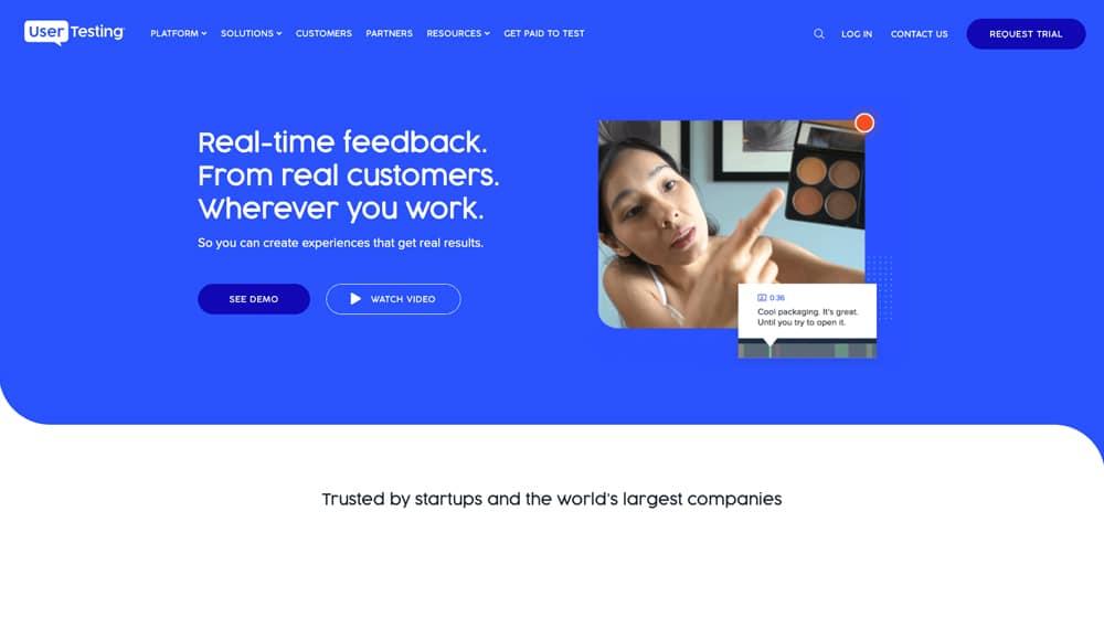 User Testing Homepage