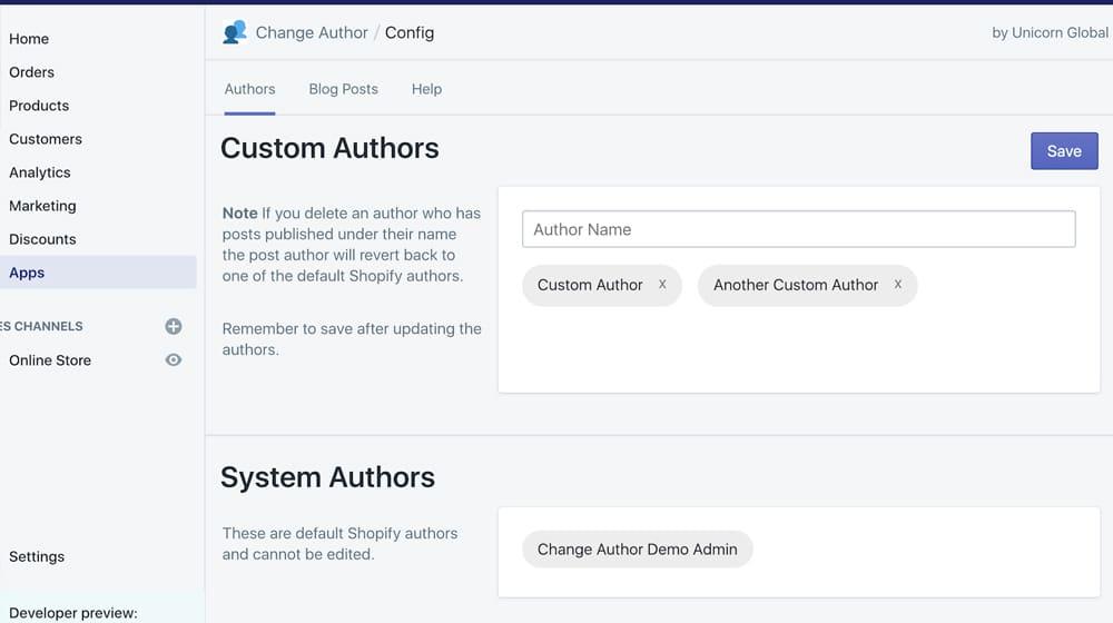 Custom Author App