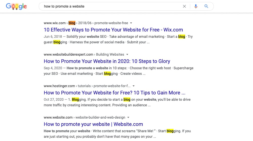 Promote a Website with Blogging