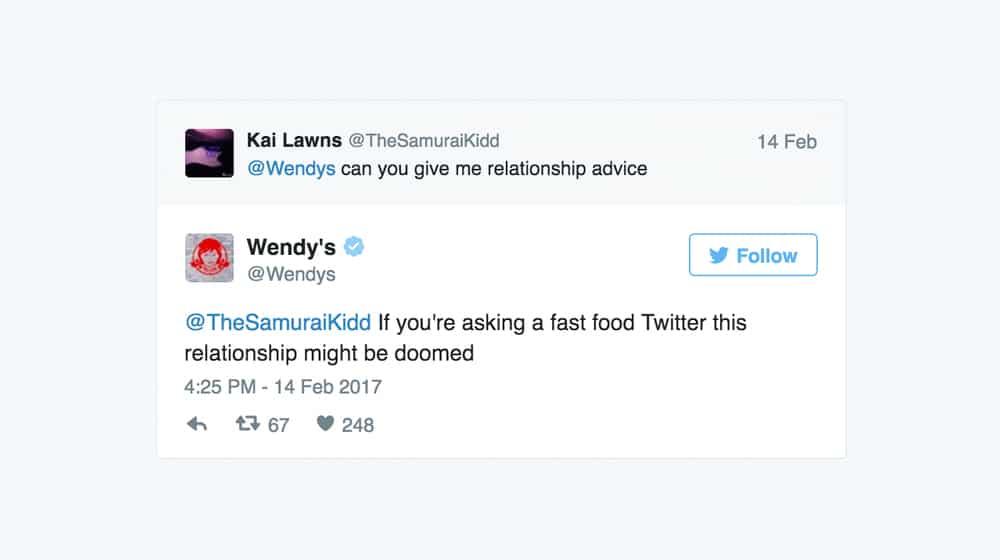 Wendys Funny Tweet Example