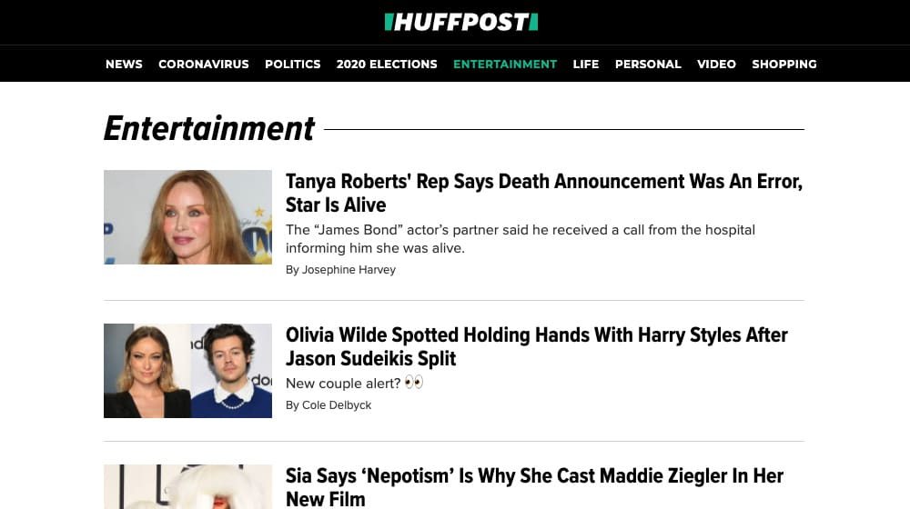 HuffPo Homepage