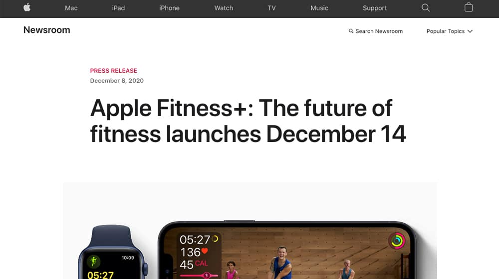 Press Release for Apple Fitness