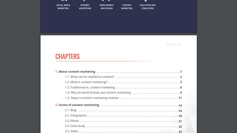 Table of Contents Section