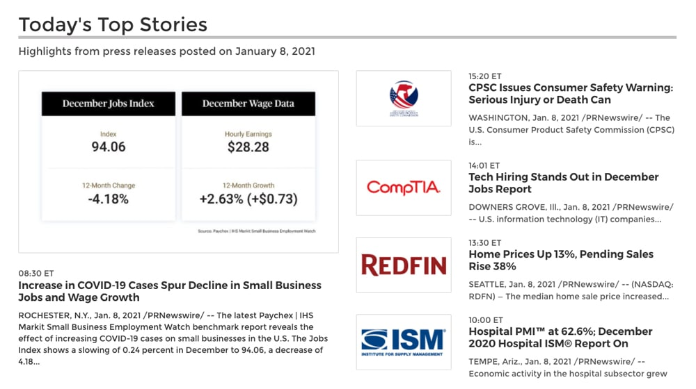 Top Stories From PRNewsWire