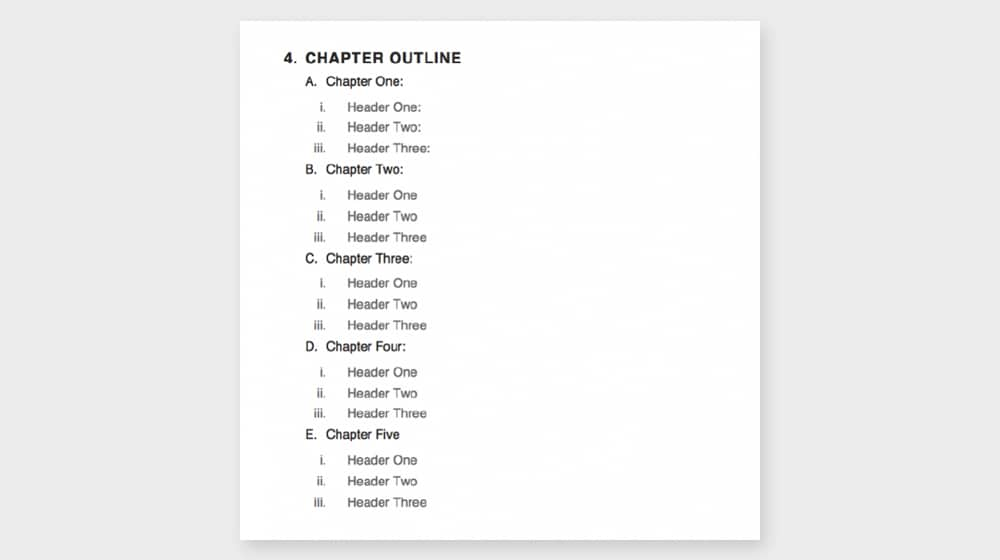 eBook Outline Example