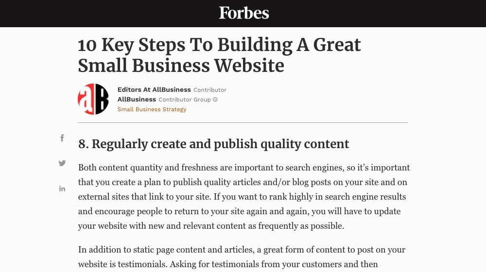 Build Website by Blogging on Forbes