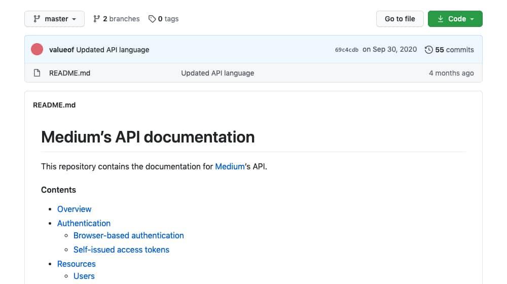 Medium API Documentation