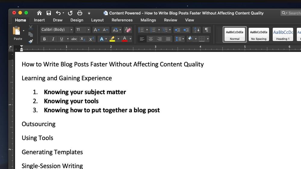 Outline for Blog Post