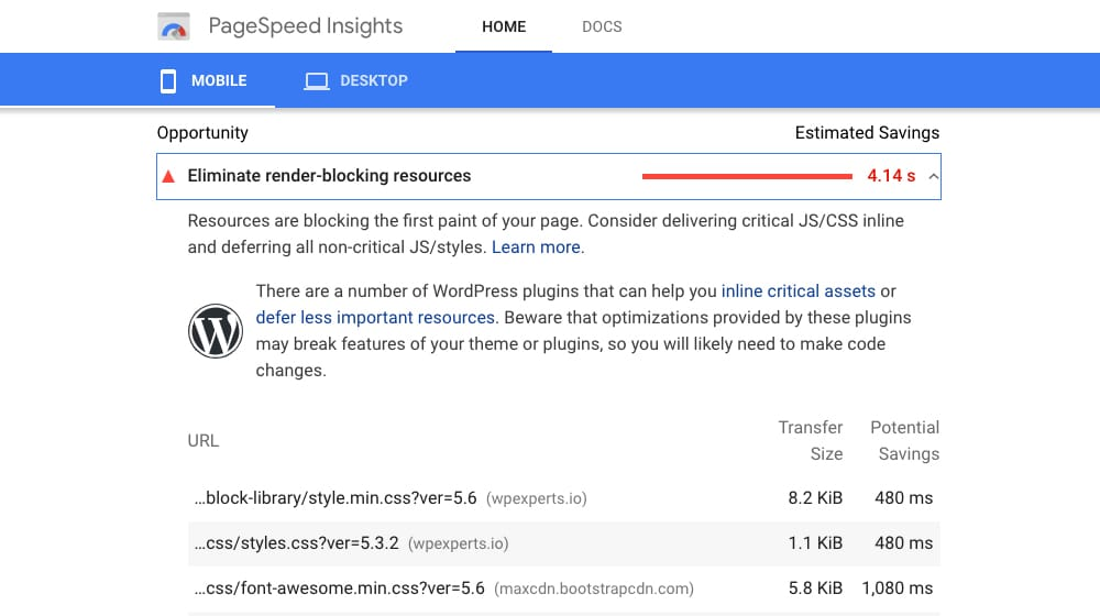 PageSpeed Insights for Troubleshooting