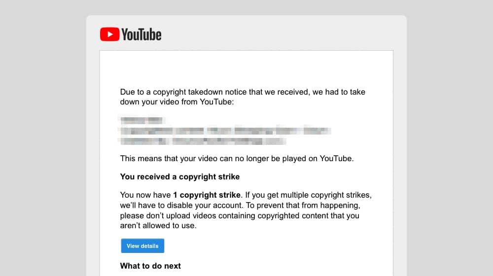 Copyright Strike Example on YouTube
