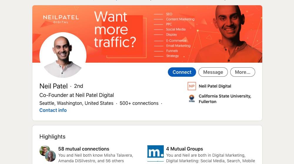 Example Valuable LinkedIn Profile
