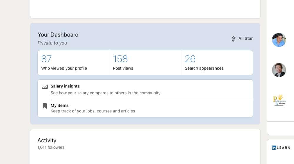 Profile Stats on LinkedIn