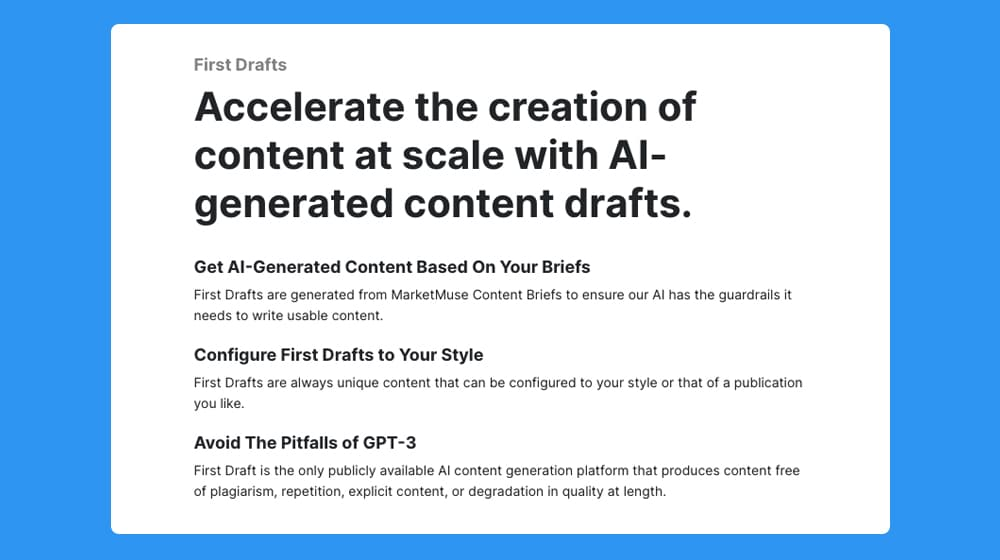AI Generated Content Drafts