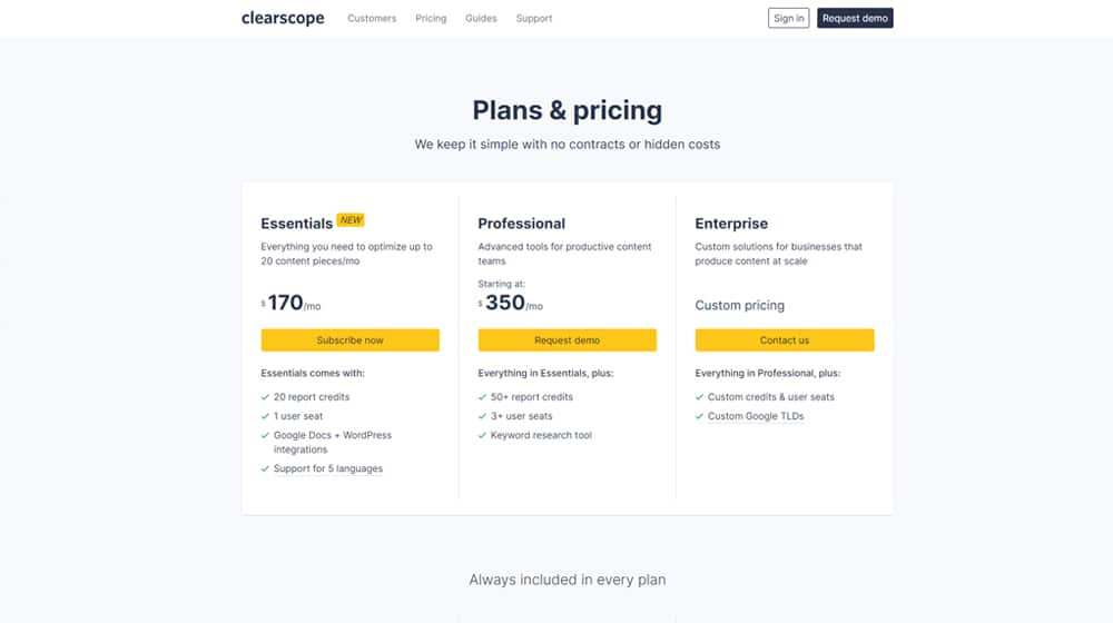 Clearscope Plans