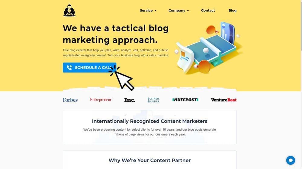 Example CTA on Homepage