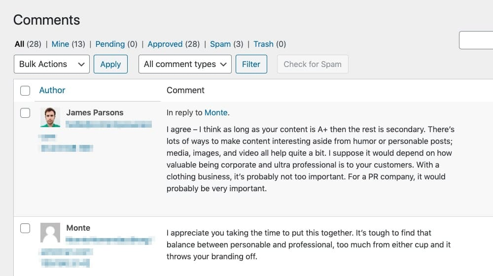Example Comment Moderated