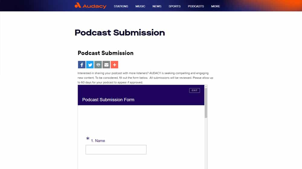 Audacy Submission Page