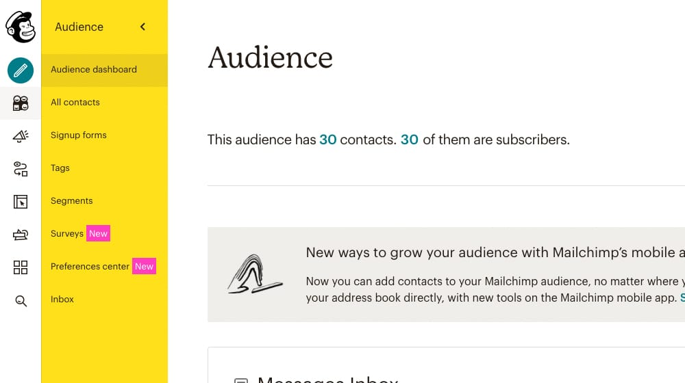 Audience Screenshot from Mailchimp
