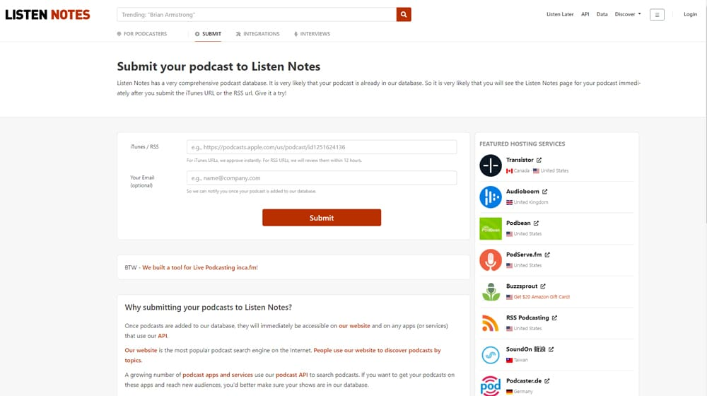 Listen Notes Submission Page