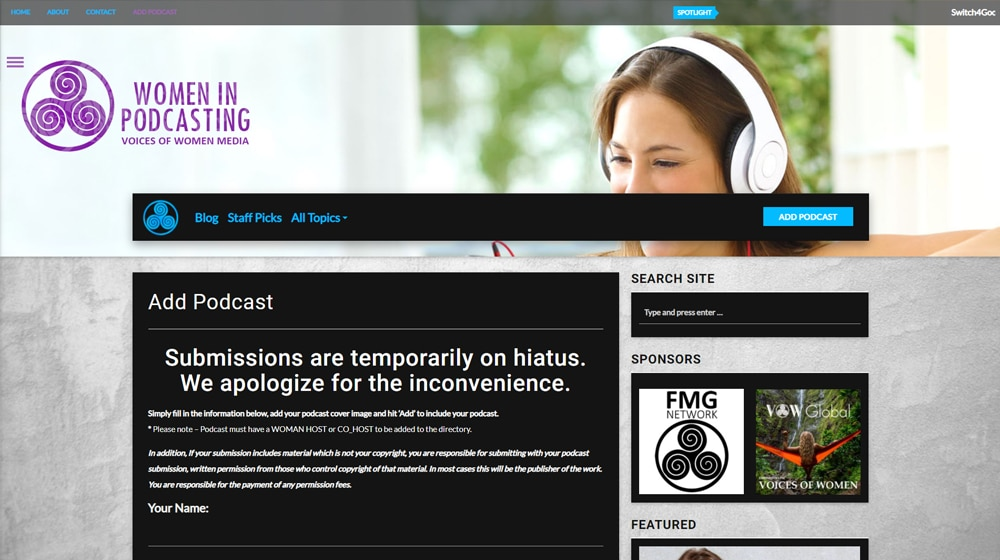 Women in Podcasting Site