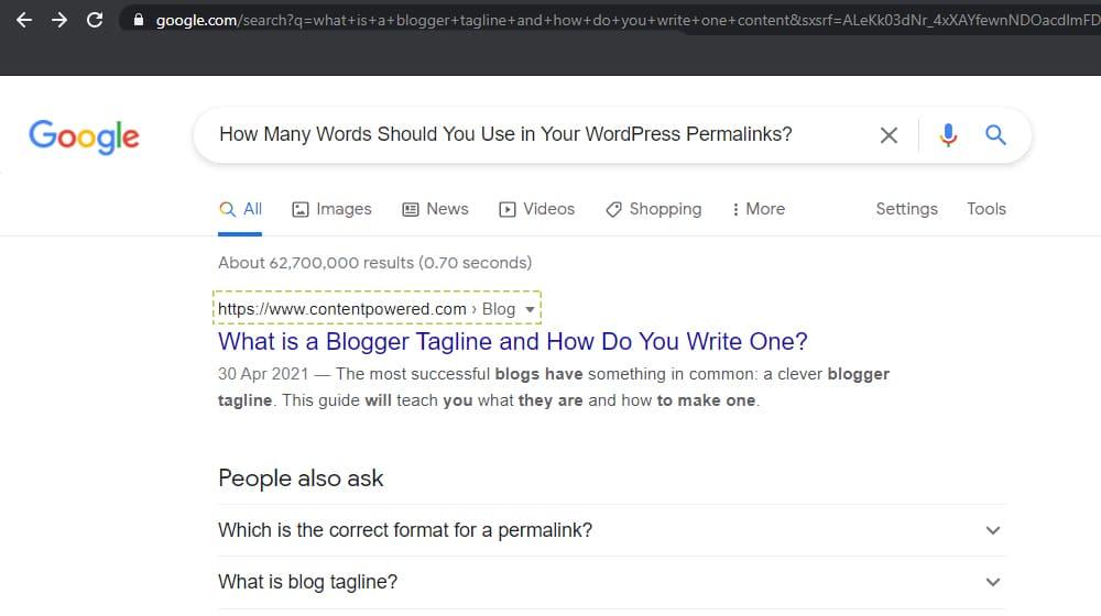 WordPress Permalinks in Search Results