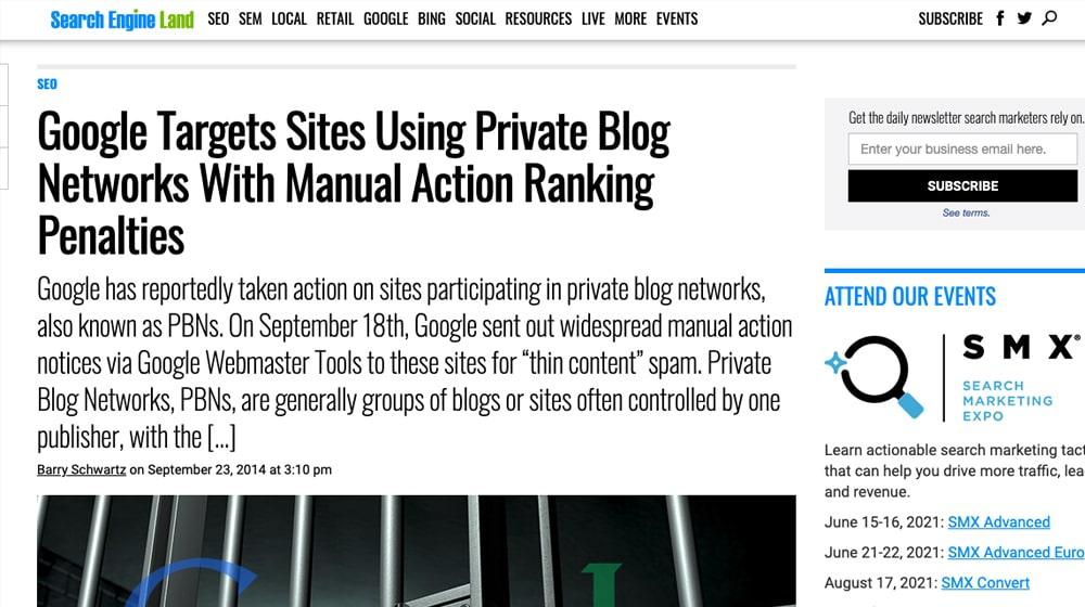 Google Targeting PBNs