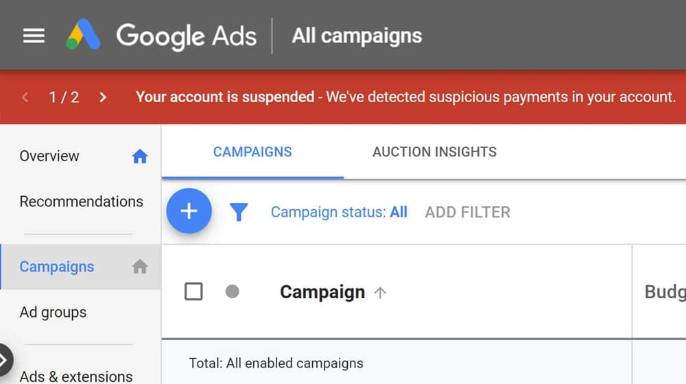 Google Ads Account Suspended