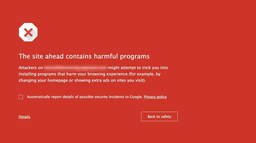 Google Ads Malware Warning
