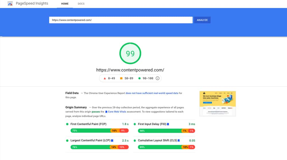 A PageSpeed Insights Score Example