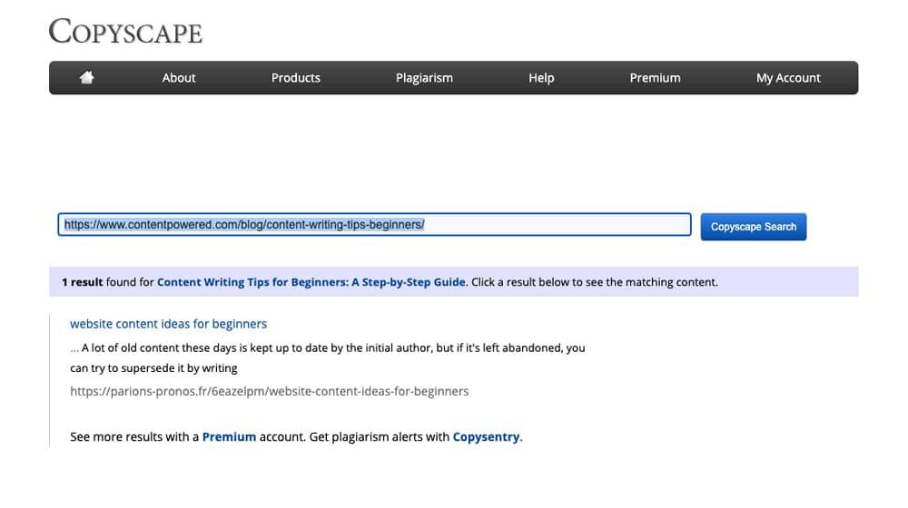 Example Copyscape Plagiarism Result