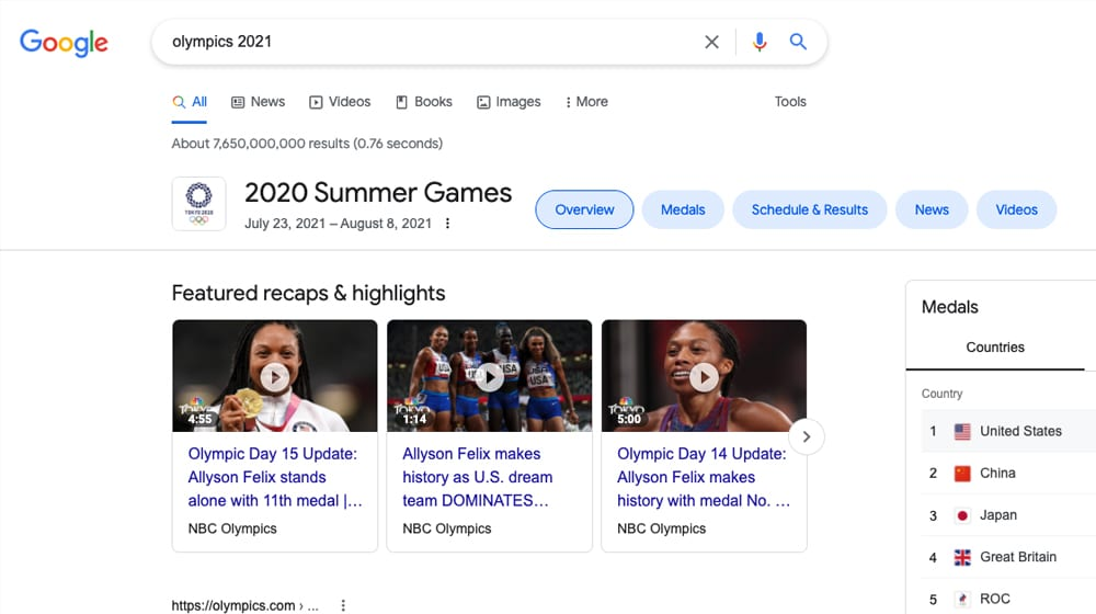 Olympics 2021 Example Query on Google