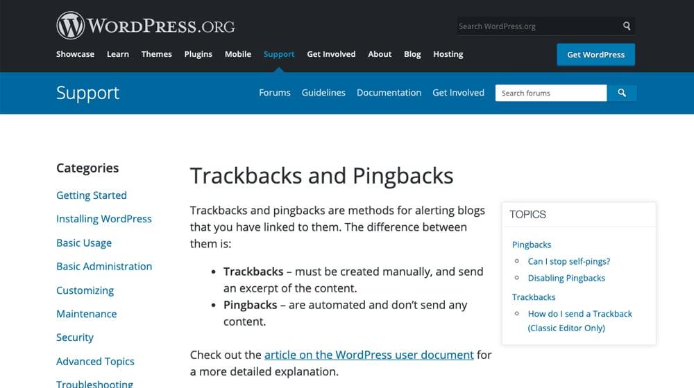 Pingbacks vs Trackbacks on WordPress.org