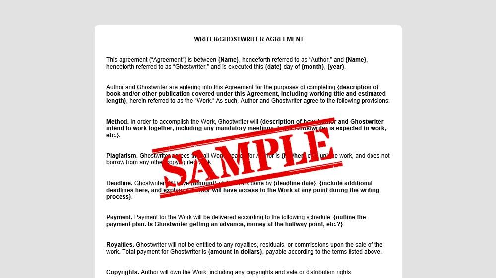 Sample Ghostwriting Agreement