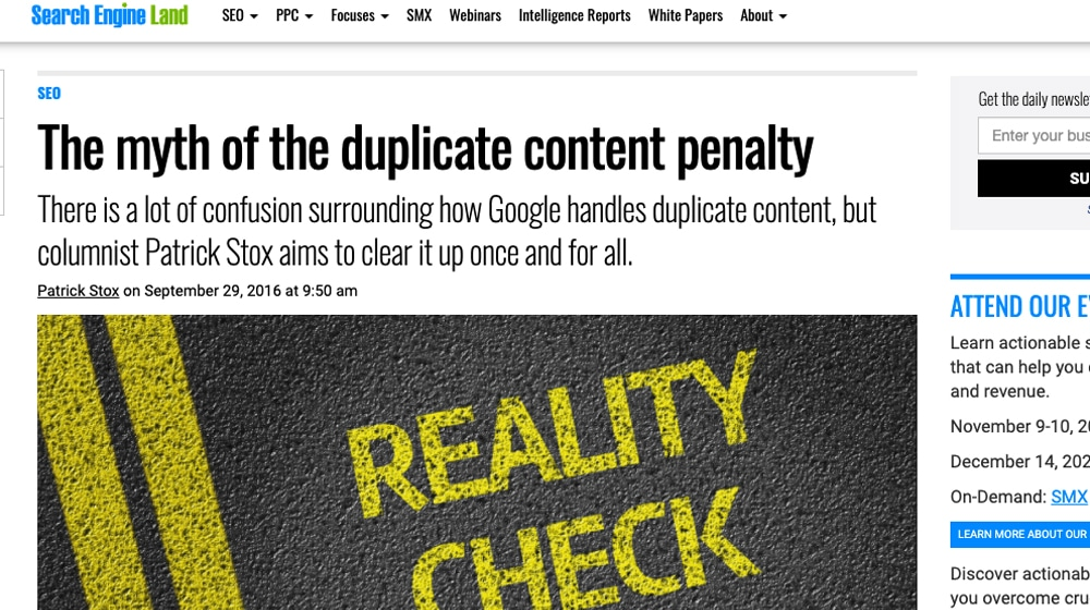 Search Engine Land Duplicate Content Myth Article