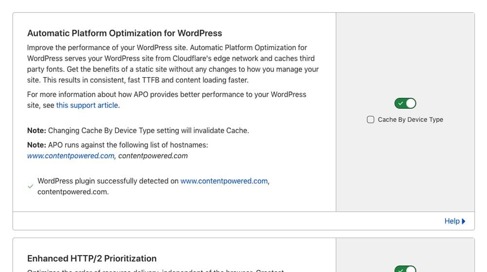 APO Setting on Cloudflare